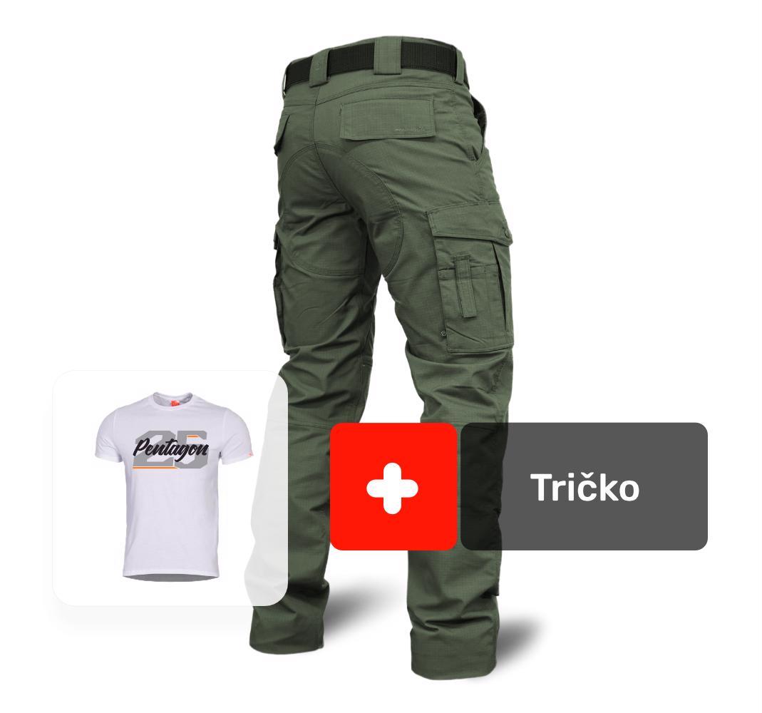 430a15f32 AKCIA nohavice ranger 2.0 army-zelené + tričko 25 biele, Pentagon ...